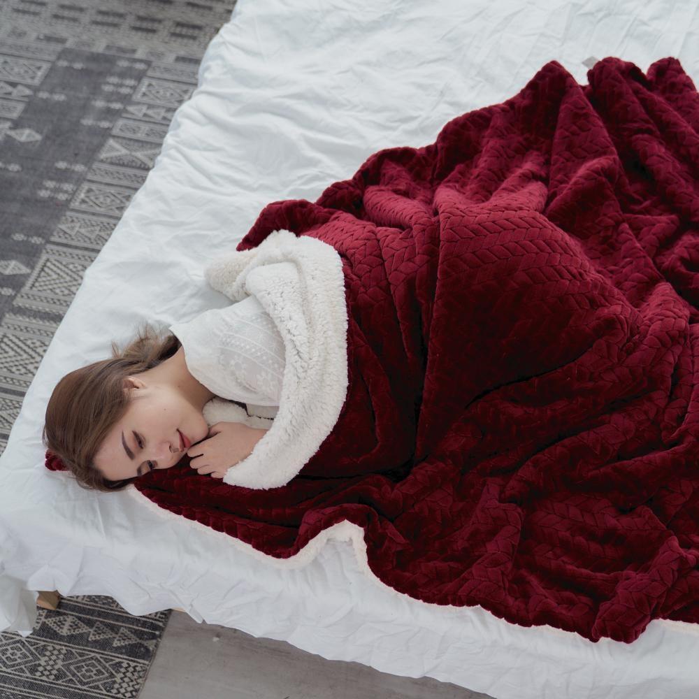 BUHO 文青感質純色法蘭絨/羊羔絨雙層暖絨毯(150x200cm)-傲嬌紅