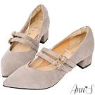 Ann'S親愛的甜蜜女孩-素面絨質雙帶瑪莉珍尖頭跟鞋-灰
