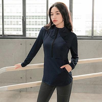 台灣製造.門襟拉鍊袋鼠口袋修身彈性運動長袖上衣-OB大尺碼
