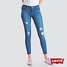 Levis 女款 710 中腰超緊身窄管 超彈力牛仔長褲 刷破