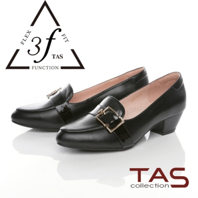 TAS異材質拼接寬版扣帶低跟鞋-百搭黑