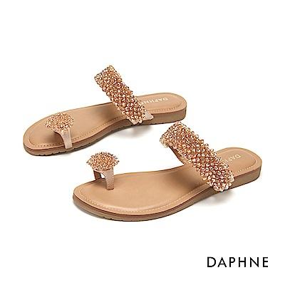 達芙妮DAPHNE 涼鞋-優雅趾環串珠舒適平底拖鞋-杏色