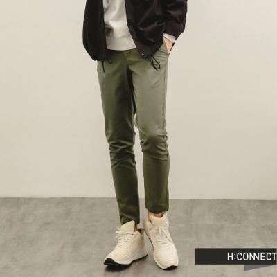 H:CONNECT 韓國品牌 男裝-純色百搭修身直筒褲-橄欖色