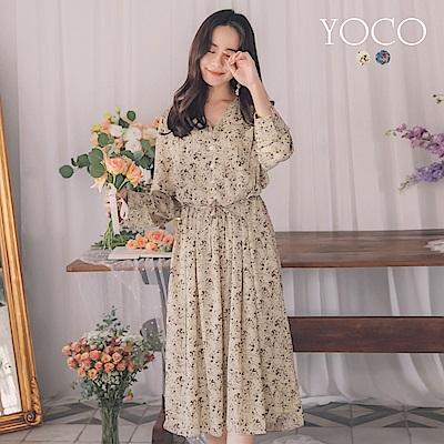 東京著衣-yoco 輕柔配色花布附綁帶圓弧v領排釦洋裝(共二色)