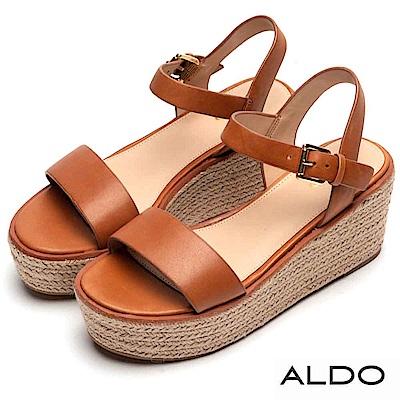 ALDO 原色真皮鞋面麻花編織楔型涼鞋~都會焦糖
