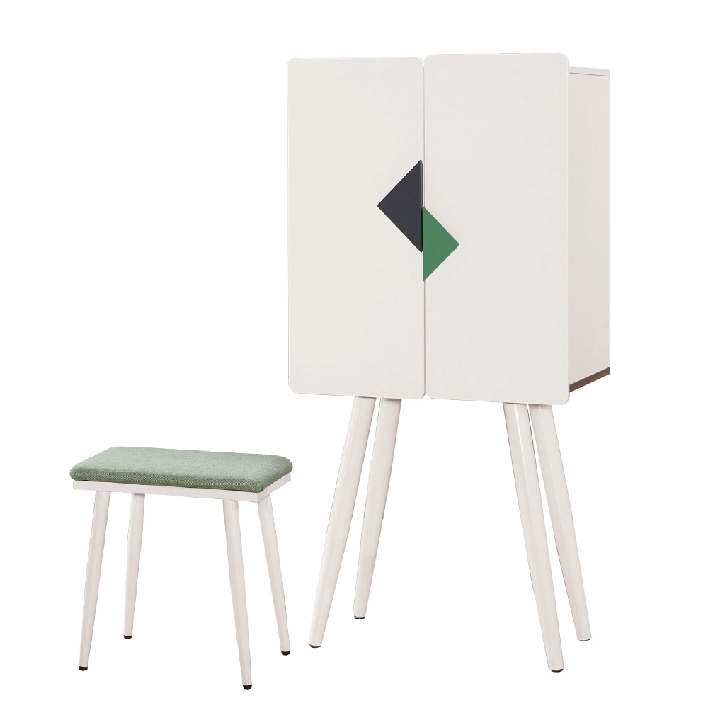 文創集 傑比 現代2.1尺開門式鏡台/化妝台組合(含椅)-64x40x134cm免組