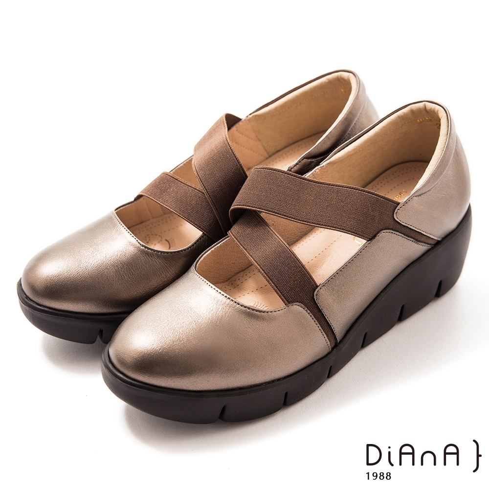 DIANA 5cm牛皮彈性交織帶輕量底瑪莉珍鞋-漫步雲端焦糖美人–古銅