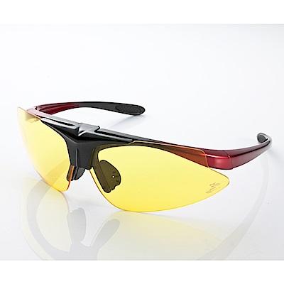 【Z-POLS】MIT頂級可掀設計黑紅漸搭配夜用黃防爆PC頂級運動眼鏡