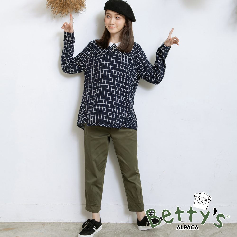 betty's貝蒂思 素色基本款開釦九分褲(深綠) @ Y!購物