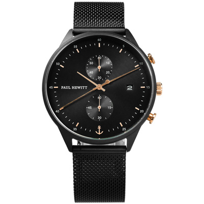 PAUL HEWITT Chrono Line 米蘭編織不鏽鋼手錶-黑色/42mm