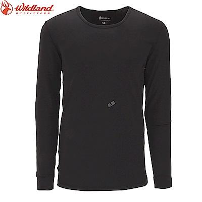 【Wildland 荒野】男遠紅外線圓領保暖衣黑
