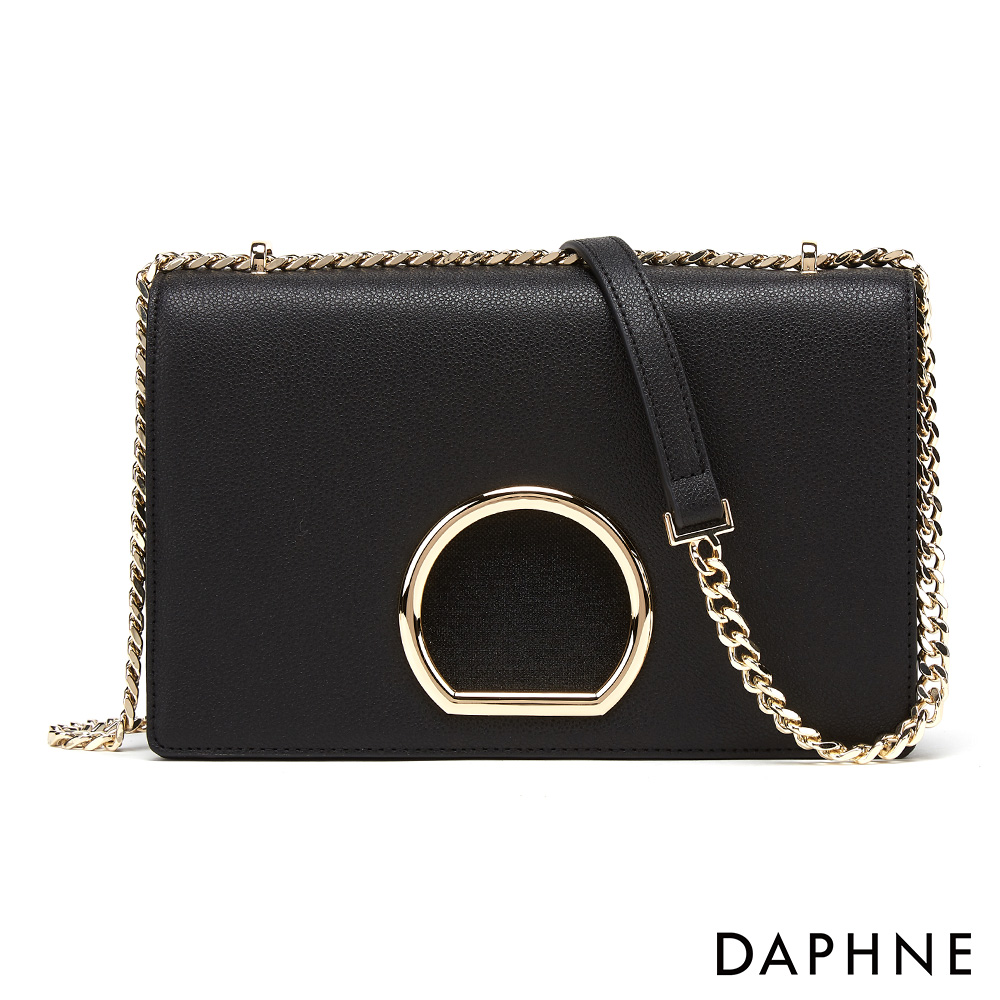 達芙妮DAPHNE-簡約金屬圓環鍊帶小方包-黑色