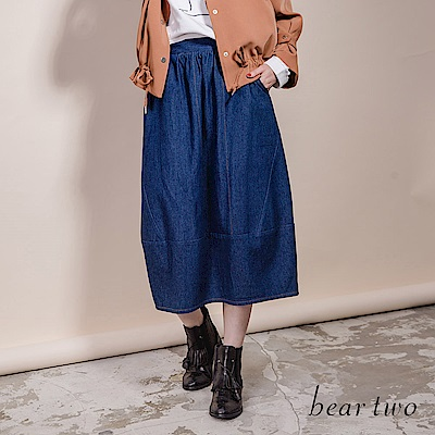 beartwo 經典簡約時尚休閒丹寧長裙(2色)