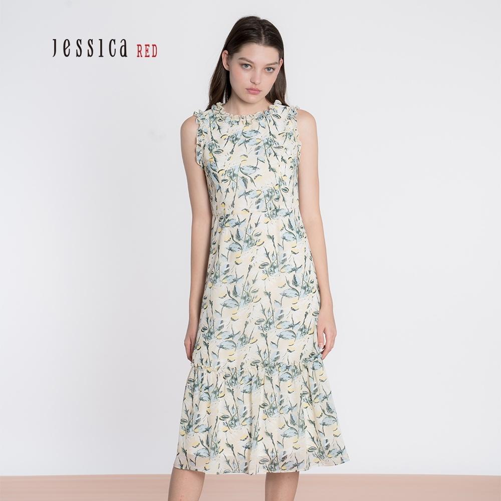JESSICA RED - 清新碎花褶皺寬鬆無袖雪紡長洋裝