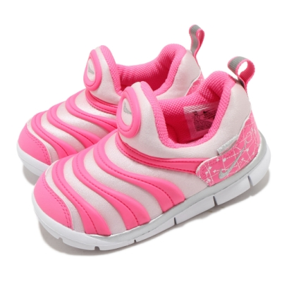 Nike 慢跑鞋 Dynamo Free 運動 童鞋 經典款 毛毛蟲 套腳 舒適 小童 粉 銀 DC3273606