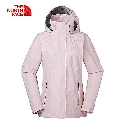 The North Face北面女款粉色防水透氣連帽衝鋒衣|3VPR8ED
