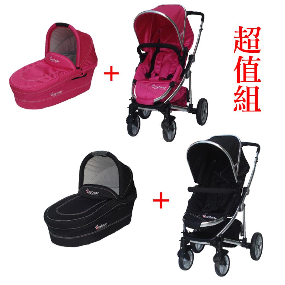 湯尼熊 Tony Bear U型RV雙向嬰兒推車(黑/桃紅)+嬰兒睡箱