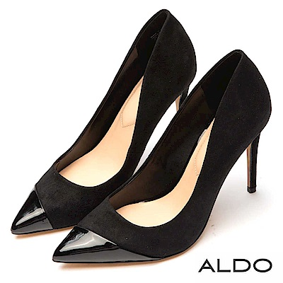 ALDO 原色異材質拼接金屬尖頭細高跟鞋~尊爵黑色