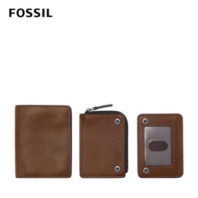 FOSSIL Thad 真皮可拆式三用卡夾組-棕色 ML4342210