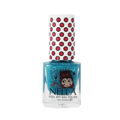 英國 【MISS NELLA】兒童水性可撕式安全指甲油 亮片深海藍 MN15