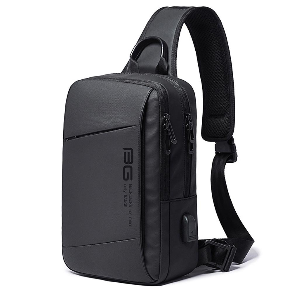 leaper 時尚休閒USB充電單肩包胸包 黑色