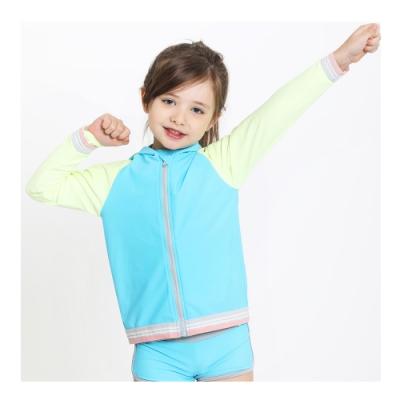 澳洲Sunseeker泳裝抗UV防曬長袖連帽泳衣外套一件組-小女童-5191017BAC-BLU