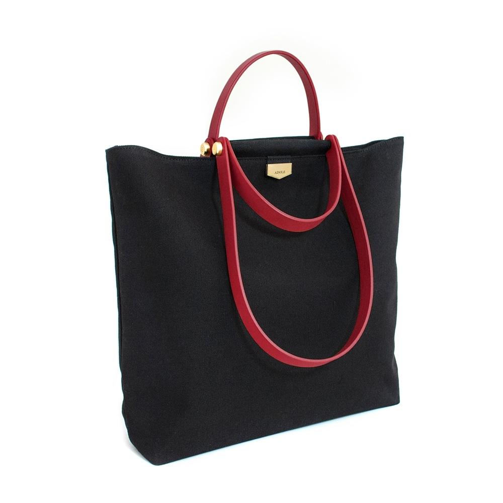 【IBAOBAO愛包包】ADOLE-ADay皮革組合包/黑帆布包+紅色提把
