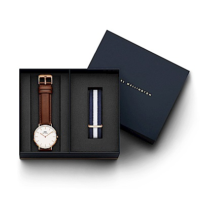 DW手錶 官方旗艦店 40mm紅棕真皮錶+藍白帆布錶帶(編號08)