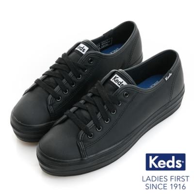 Keds TRIPLE KICK 時尚皮革厚底休閒鞋-黑
