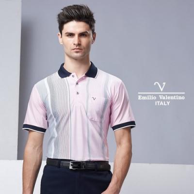Emilio Valentino高質感異材質拼接短袖POLO衫_粉(15-9V2907)