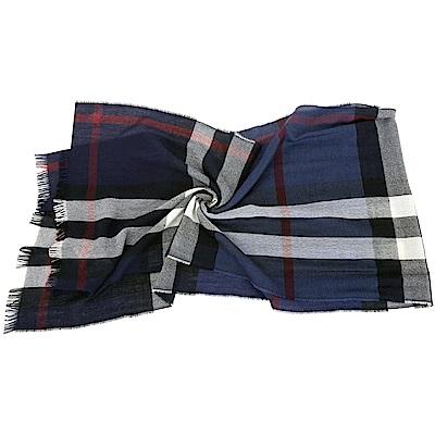 BURBERRY 輕盈格紋羊毛喀什米爾圍巾(海軍藍)