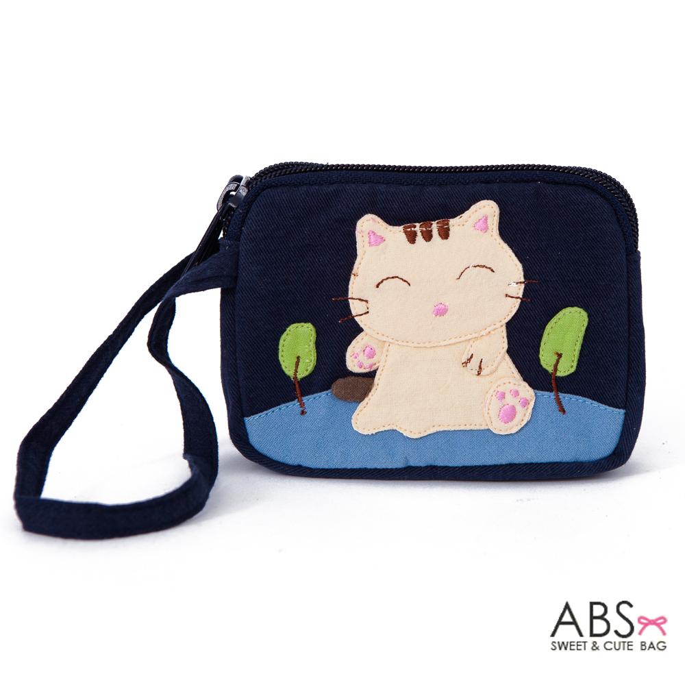ABS貝斯貓 可愛貓咪拼布雙層拉鍊零錢包(海洋藍)88-153