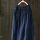 鬆緊腰亞麻中長裙中長版高腰裙-設計所在
