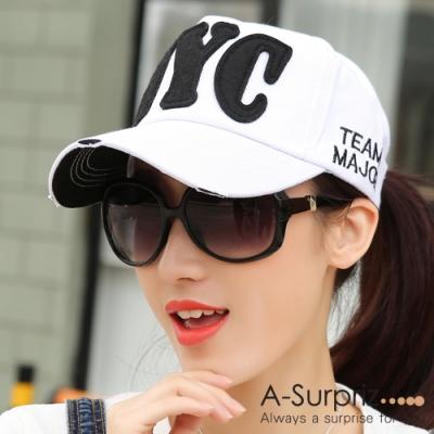 A-Surpriz 帥性美式風字母NYC棒球帽 (白)