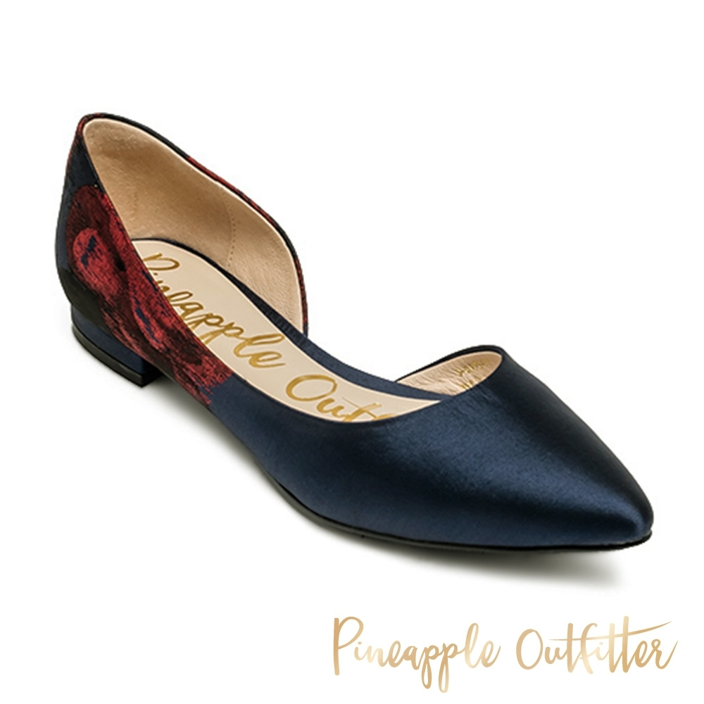 Pineapple Outfitter 典雅氣質尖頭側空低跟鞋-特殊紋深藍色