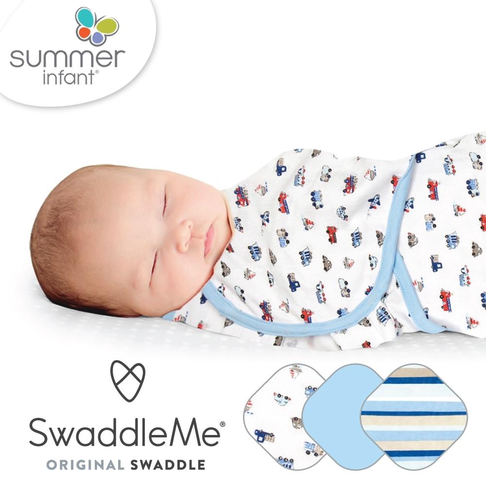 美國 Summer Infant - 聰明懶人育兒包巾 交通工具 純棉-3入