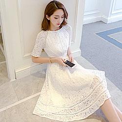 韓版華麗精美訂製蕾絲修身洋裝S-2XL(共二色)Dorri