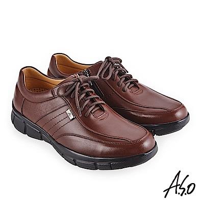 A.S.O 3D超動能 精緻飾釦休閒鞋 茶
