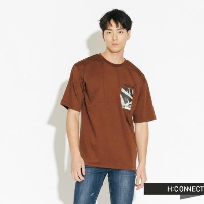 H:CONNECT 韓國品牌 男裝-正反圖印圓領短T-棕