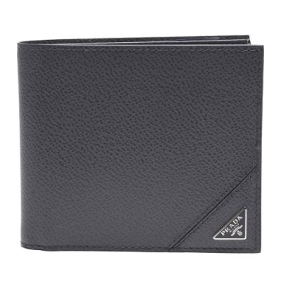 PRADA 經典銀色三角LOGO小牛皮摺疊短夾(淺灰色-8卡)
