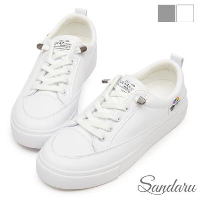 山打努SANDARU-小白鞋 超軟Q免綁帶防磨腳休閒鞋-白