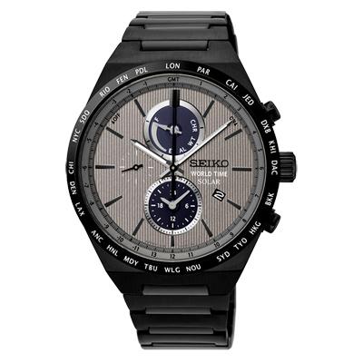 SEIKO 精工 太陽能世界時間計時手錶 SSC527J1-灰X黑/41mm