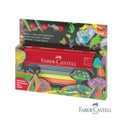 Faber-Castell 紅色系 JUMBO 10色水性色鉛筆鐵盒(螢光色+金屬色+削筆器)