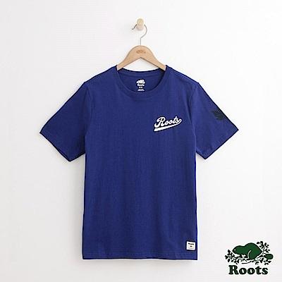 Roots 男裝-左胸書寫體短袖T恤-藍色