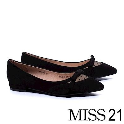 低跟鞋 MISS 21 復古優雅異材質網紗拼接羊麂皮低跟鞋 -黑