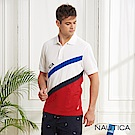 Nautica 航海家斜紋拼接吸濕快乾短袖POLO衫-白色