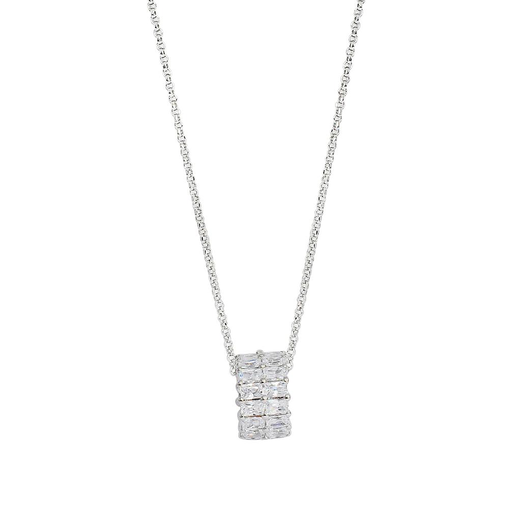 apm MONACO法國精品珠寶 閃耀銀色雙環方形鑲鋯可調整項鍊