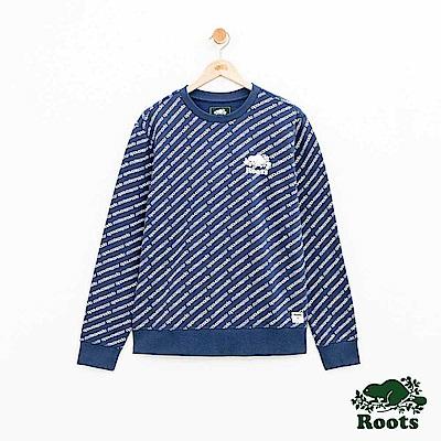 男裝Roots 派尼頓滿版印花圓領上衣-藍