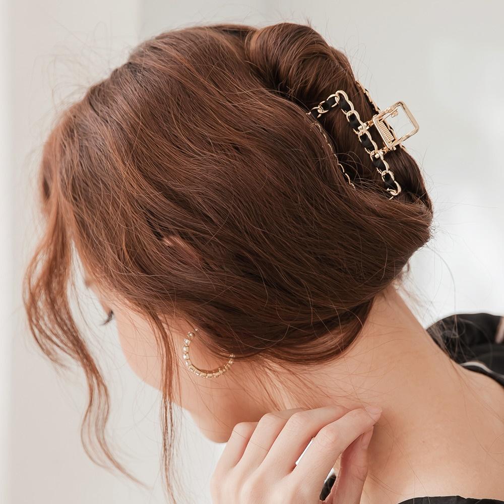 韓系金屬緞帶髮夾/鯊魚夾-OB大尺碼