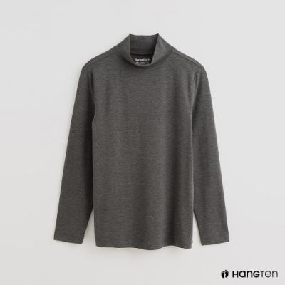 Hang Ten - 男裝 -ThermoContro-素面運動機能高領長袖上衣-灰